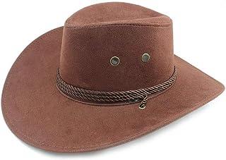 ウエスタンカウボーイハット ソリッドカラーカウボーイハットフェドーラ帽子男性用女性ブルナイトルーレットジャズハットフェドーラハットスエードウエスタンカウボーイカウガールハットバイザー (色 : コーヒー, サイズ : 56-58CM)