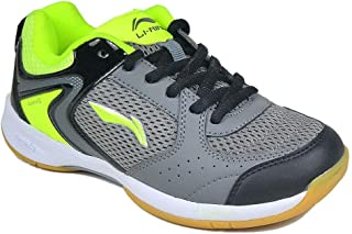 Li-Ning Attack Boy's and Girl's Dark Grey/Black/Lime Badminton Sports Shoes (UK 1)