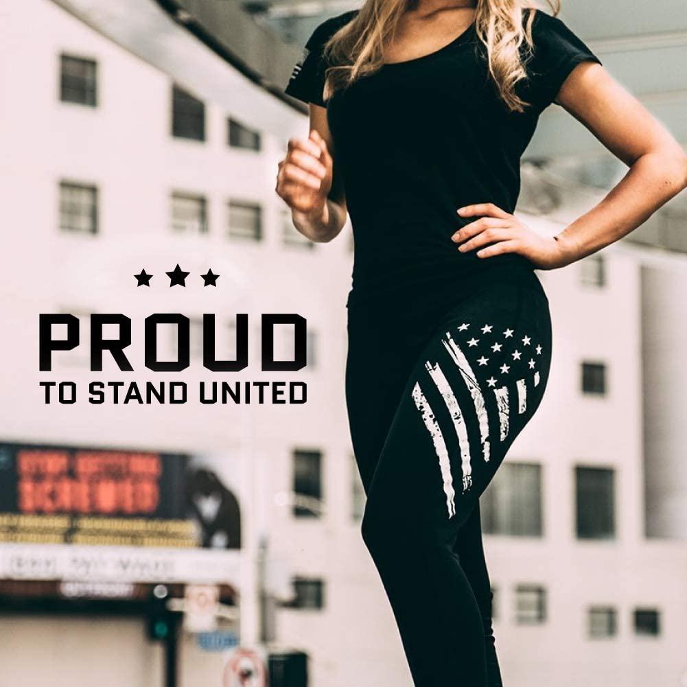 Tactical Pro Supply American Flag Leggings for Women, Workout High Waist Yoga Pants for Ladies