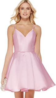Women's V-Neck A-line Simple Homecoming Evening Ruched Skirt