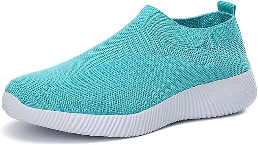 Keluomanduo Women's Athletic Walking Sock Shoes Elastic Mesh-Bre