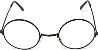Skeleteen Round Wizard Costume Glasses - Black Metal Frame Circular Costume Eyeglasses - 1 Pair