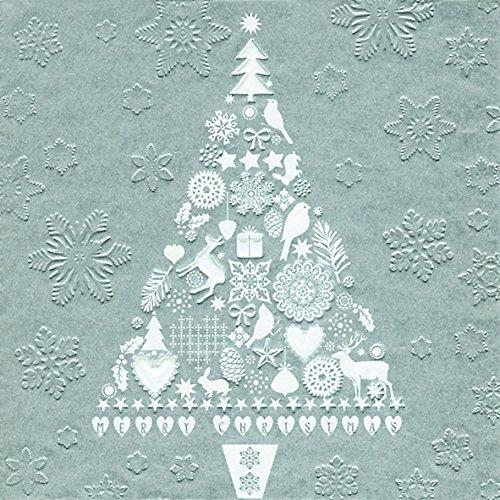32 Servietten geprägt Weihnachtsbaum silber (Moments