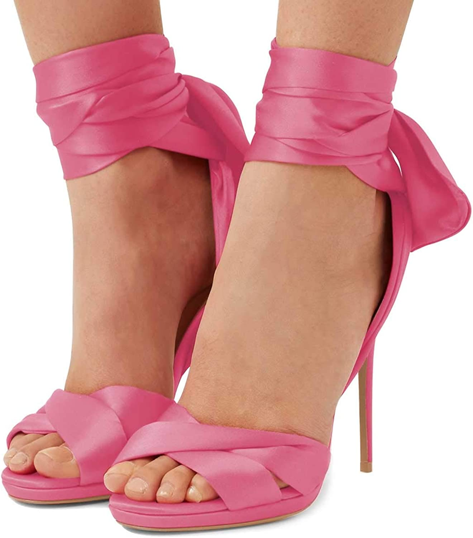 FSJ Women Cocktail Peep Toe Satin Lace Up Sandals Ankle Wrap Platform High Heels Party Sexy shoes Size 4-15 US