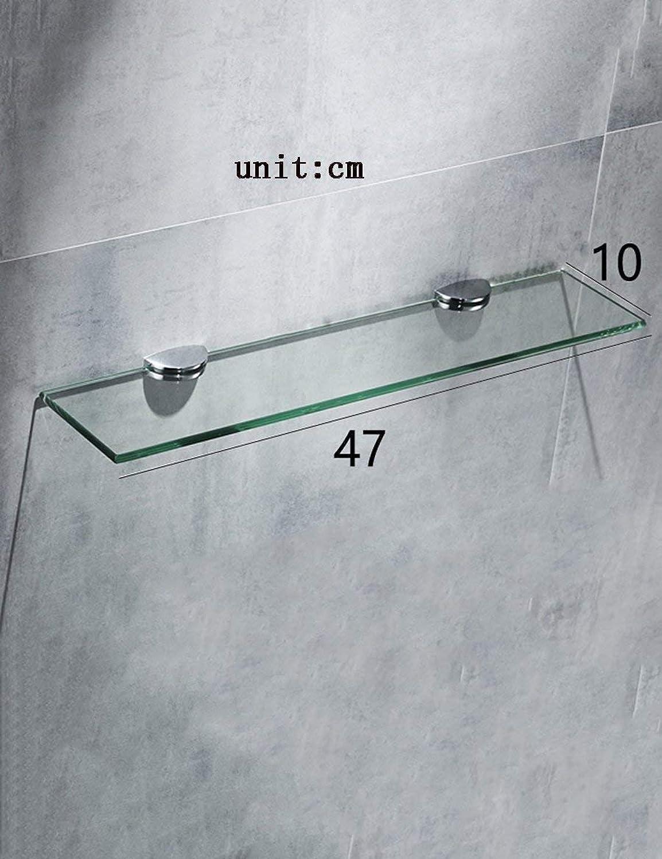 TouchchuangTech Bathroom Glass Shelf Bathroom Glass Shelves Single-Layer Wash Supplies Rack Hotel Bathroom Shelves Bathroom Holder (color   47  10cm)