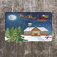 玄関マット印刷クリスマスデコレーション耐久性のあるドアマットクラシックイブシーンサンタルドルフとの贈り物を届ける生きるための赤い鼻のトナカイようこそ滑り止め吸収性カーペット