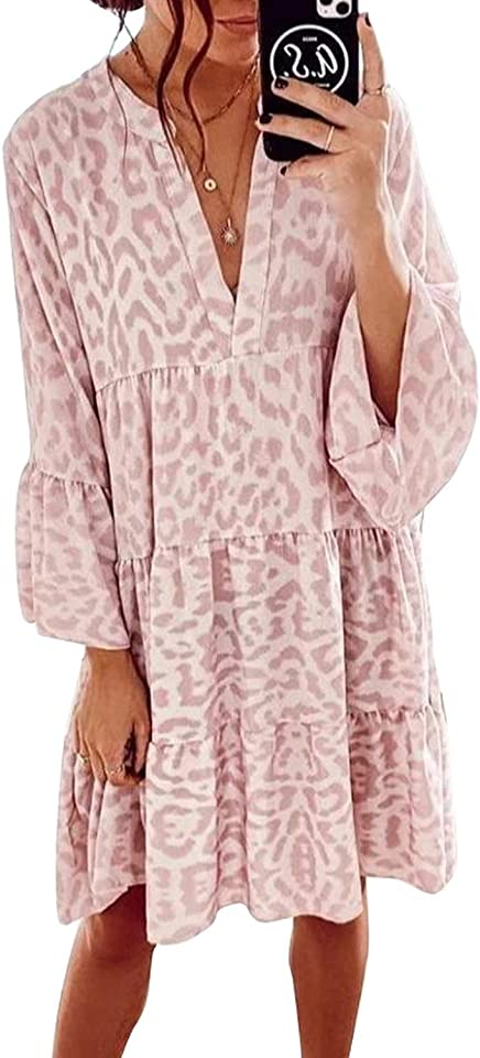 Lässiges Tunika-Kleid für Damen, Leopardenmuster, Rüschen, V-Ausschnitt, fließend, schwingend, lose Tunika-Kleider, Vintage-Stil, rosa Druck, langärmelig, Midi-Kleid