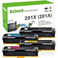 Aztech Compatible Toner Cartridge Replacement for HP 201X 201A CF400X CF401X CF402X CF403X CF400A CF401A CF402A CF403A (Black/Cyan/Yellow/Magenta, 4-Packs)