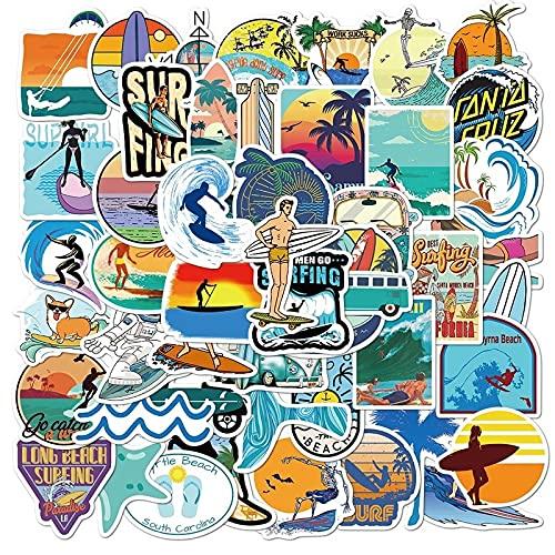 SHUYE Paquete de Pegatinas de Surf al Aire Libre, Deportes, Playa Tropical, Surf, Pegatinas Impermeables para Tabla de Surf DIY, Pegatina de monopatín para Coche, 50 Uds.
