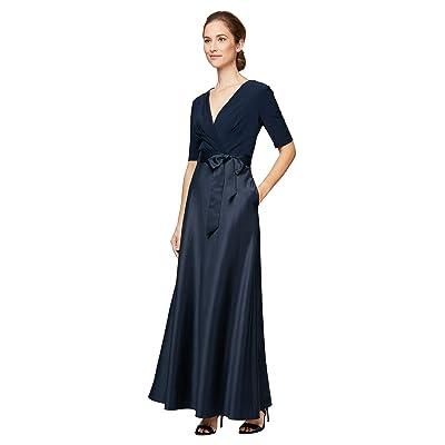 Alex Evenings Long Surplice Neckline Dress with Satin Skirt Women