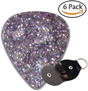 DRUIPO Glitter Sparkles Shimmer Celluloid Guitar Picks 6 Pack Includes Thin, Medium, Heavy & Extra Heavy Gauges