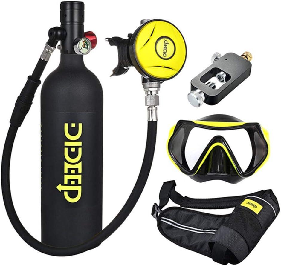 FGKING Tanque de Buceo Port/átil 1L Aviaci/ón Aluminio Mini Buceo Tanque de Ox/ígeno Respirador Subacu/ático Bomba de Aire de Alta Presi/ón Cilindro de Buceo Kit de Equipo de Buceo Snorkeling