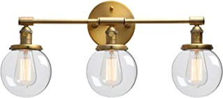 Phansthy Three Light Indoor Wall Fixture Bathroom Vanity Lighting with 5.6 Inches Globe Clear Glass Lamp Shade, Antique