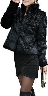 Corto Abrigo Mujer Collar del Soporte Chaqueta Invierno Chaquetas Pelo Sintético Abrigo de Piel Sintética de Pelo Chaqueta...