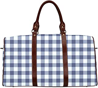 Large Leather Travel Duffel Bag For Men Women Playground Navy Blue White Gingham Check Wallpaper Printing Waterproof Overnight Weekend Bag Luggage Tote Duffel Bags For Travel Gym Sports School Beach