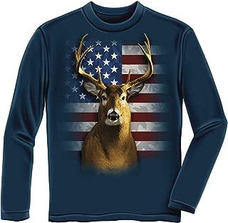 American Flag Patriotic Deer Adult Longsleeve Navy Blue Tee Shirt