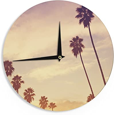 12-Inch Kess InHouse Robin Dickinson Smell The Flowers Lavender Green Wall Clock