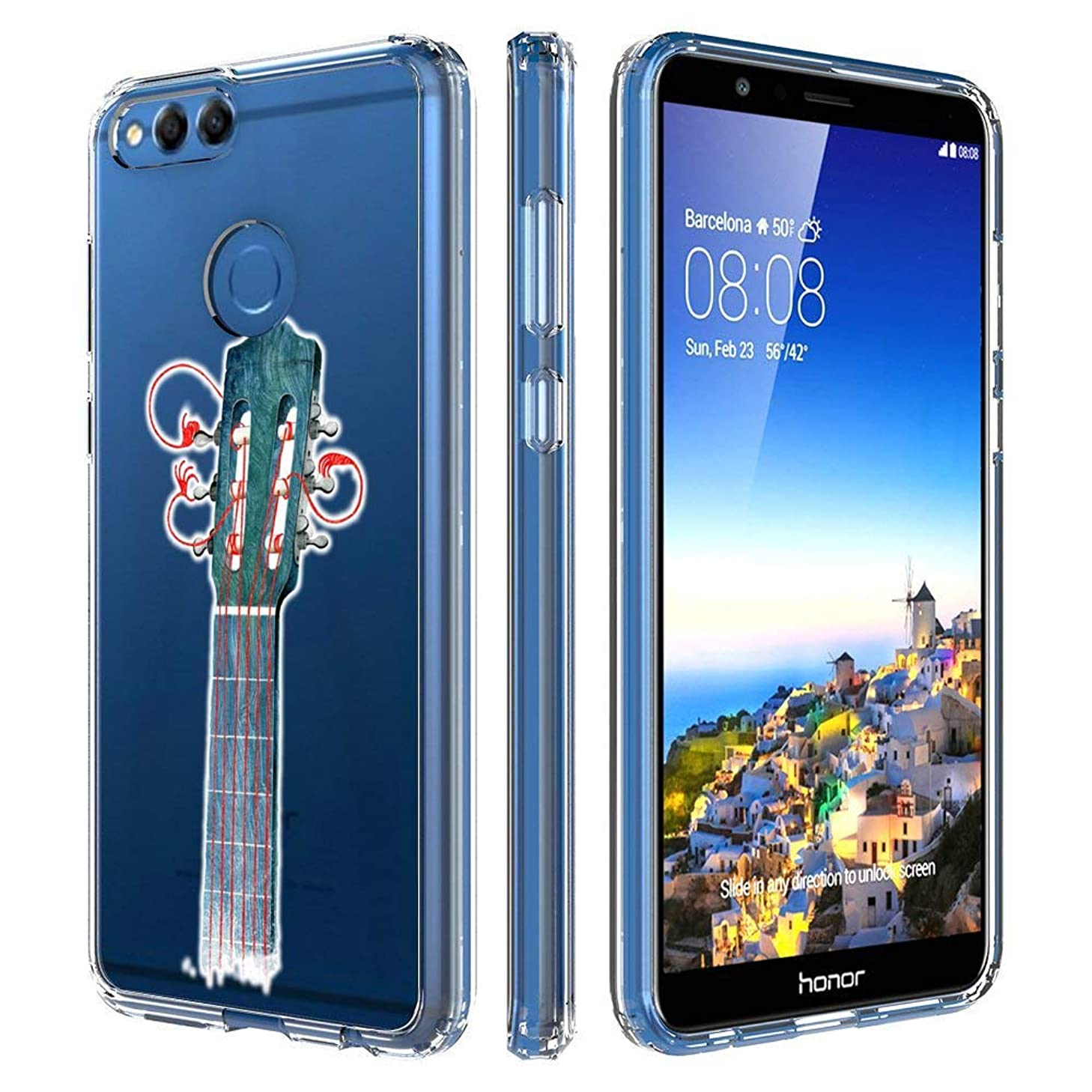 Clear Phone Case Compatible Huawei Honor 7X Customized Guitar String Design by MERVELLE TPU Clear Shock-Proof Protective Case [Ultra Slim, Anti-Slippery]
