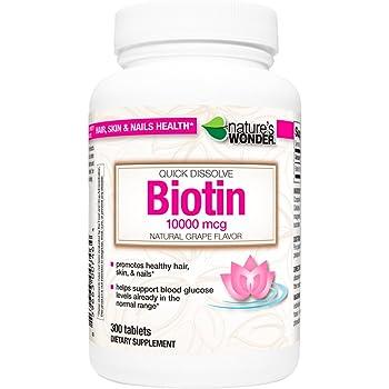 Nature's Wonder Biotin 10000mcg Quick Dissolve Tablets, 300 Count