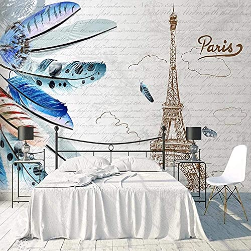 Papel tapiz mural 3D, moderno y creativo, torre de plumas, mural, sala de estar, TV, sofá, dormitorio, artista, decoración del hogar-400x280cm