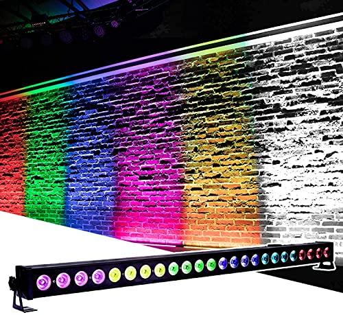 PIXEL - Barra LED de pared Wash de 24 x 3 W LED RGB efecto luz de discoteca iluminación estroboscópica DMX controlada por música para luces de escenario para DJ Party