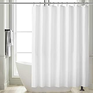 Feagar Fabric Shower Curtain, White Bathroom Liner Waterproof, with 12 Metal Hooks, Grommets and Weighted Hem, Thick and Soft, 72x72 Inch for Bath Tub and Shower Stall