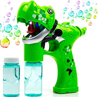 Toytykes Dinosaur Bubble Gun,Premium Light Up Bubble Blower Machine with LED Light and Music, Lightweight Easy RefillParty Bubble ToysPerfect Birthday, for Kids Boys Girls