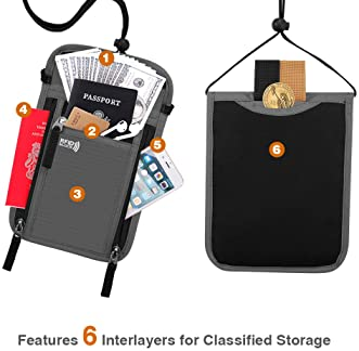 KEAFOLS Travel Pouch Neck Wallet Family Passport Holder Organizer Case with RFID Blocking,Security Zipper Concealed O...