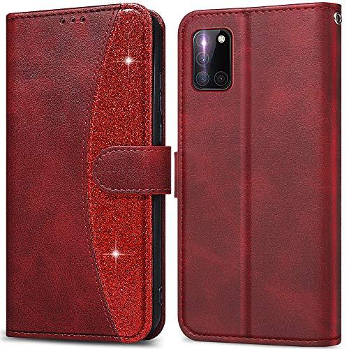 LEBE Handyhülle für Samsung Galaxy A31 Hülle Leder, Flip Etui Handytasche Schutzhülle[Kartenfach][Magnetverschluss]für Samsung Galaxy A31 -Rot