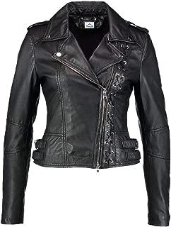 VearFit Blade Biker Designer Lamb-Skin Real Leather Jacket Women