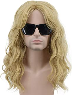 Karlery California 80s Rocker Wig Men Women Long Curly Light Blonde Halloween Costume Anime Wig