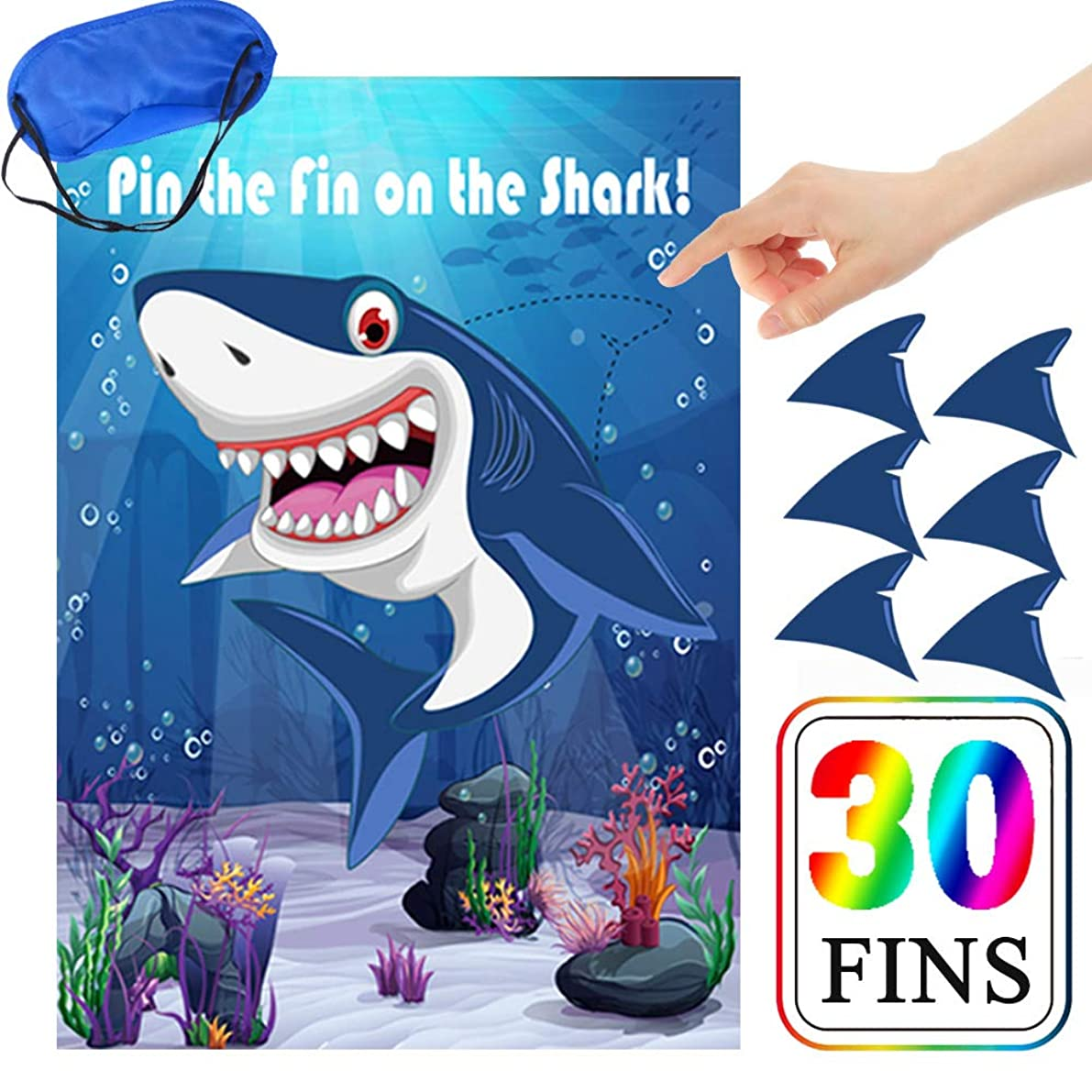 Pin The Fin On The Shark Games Kids Baby Shark Birthday Party Supplies Decorations Game - 30 Fins
