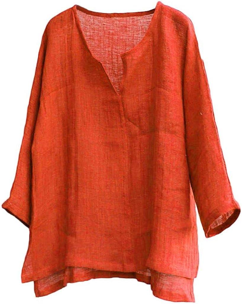 Mens Cotton Linen Shirts 3/4 Sleeve Stylish Slim Fit Tops Lightweight Breathable Tshirt Soft Cozy Irregular Hem Blouse