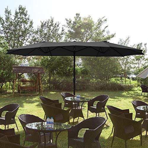 of extra large patio umbrellas Yescom 14.7Ft Double Sided Twin Patio Umbrella with Extra Large Shade Crank Handle UV Block Outdoor Yard Market Long Table