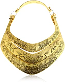 Women Retro Ethnic Carved Colorful Chunky Collar Choker Necklace Indian Exaggerated Jewelry