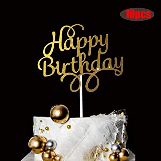 YUINYO 10 Pieces Happy Birthday Cake Topper for Adult/Children/Boys/Girls, Gold Glitter First Birthday Party Decoration