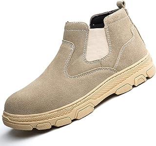 ZYFXZ Les hommes Souder Soudeur Bottes de sécurité, haute température résistant Chaussures de travail en cuir suède avec T...