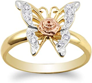 10K Yellow Gold Butterfly Rose Design Round CZ Three Tone Ring Size 4-10