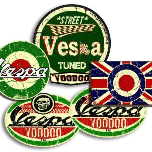 Pegatinas de Vespa, 4 unidades, incluye 1 pegatina de la bandera de Reino Unido