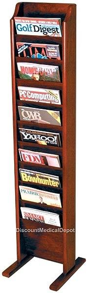 DMD Free Standing Magazine Rack 10 Pocket Mahogany Wood Finish