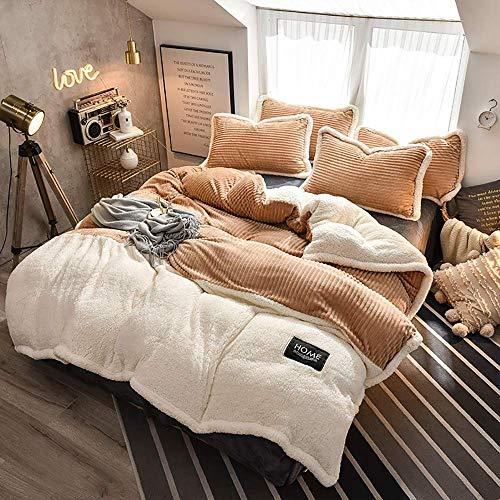 Wohnaccessoires für Schlafzimmer Bettbezug-Set Doppelvlies Bettwäsche-Sets Doppelvlies Winter Bettbezug-Set Bettwäsche-Set Bettbezug-Sets Flachbetttuch Superweiche, warme, dicke Twin King 4-teilig