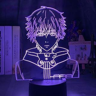 3D Led Night Light Tokyo Ghoul Ken Kaneki Face Nightlight for Reading Room Decor Light Anime Birthday Table Lamp USB (7 Co...