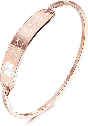 MOWOM Medical Bracelet de Manchette d'alerte d'urgence médicale médicale gravée Bracelet du nom d'identification pour...