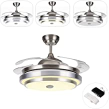TC-Home Warm Cool Natural White Ceiling Fan Light 42 inch Retractable Blades with Bluetooth speaker/Remote control