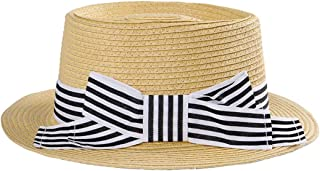 Hats Sunshade Sunscreen Women's Straw Hat Striped Bow Flat Top Flat Hat Fashion (Color : Beige)