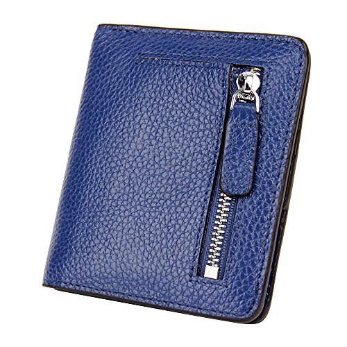S ZONE Womens Small Compact Genuine Leather Bi fold Pebble RFID Blocking Wallet Bifold with Coin Holder and Picture ID Window Purse Pocket Wallet