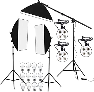 OCTOVA PRO Quadlux Mark II Soft Led Still & Video Light Softbox 3 Point Lighting Kit with AC Power, YouTube Shooting, Videography, Portrait, Product Photography, Fluorescent Key,Fill,Rim Head Light