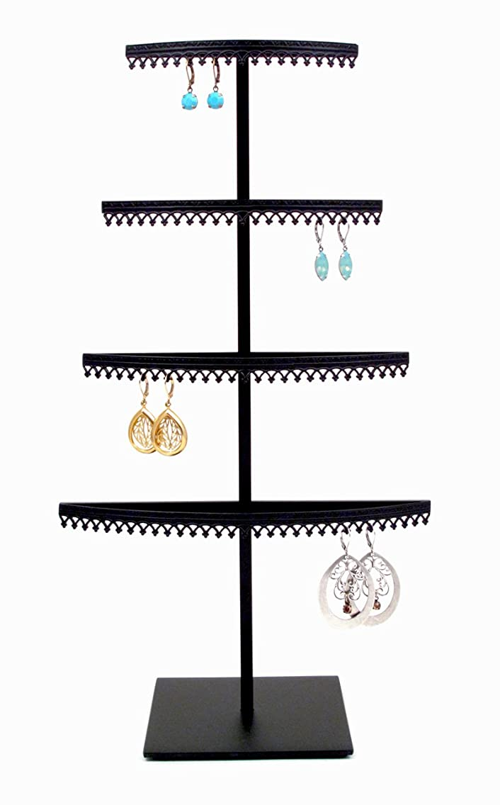Royal Crown Display 4 Tier earring organizer stand with crown molding - Black