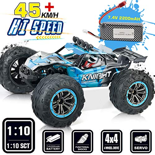 INGQU Remote Control Car 1:10 Scale 45+KM/H High Speed Off Road Remote Control Monster Truck 2.4GHz 4WD Electric Vehicle for Kids & Adults