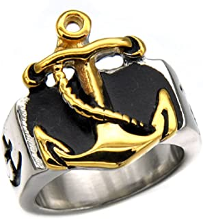 Men's Vintage Gothic Gold and Silver Anchor Nautical Rope Titanium Steel Nautical Rings Size 8-13